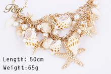 Summer Promotions High quality Bohemia Style Metal Starfish Necklace choker necklace statement jewelry for women 2015