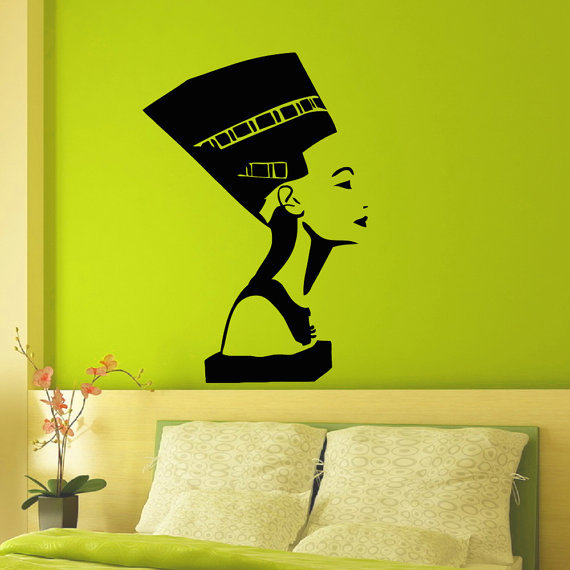 Ancient Egyptian Symbol Queen Nefertiti Interior Design Wall Decal Vinyl Sticker Bedroom Living Room Girls Wall Home Decor(China (Mainland))