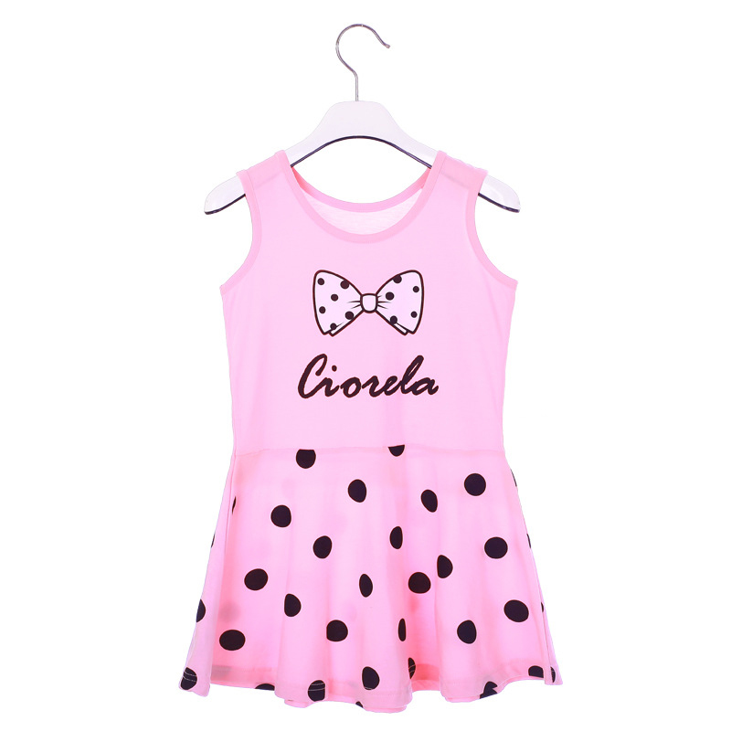 New 2016 Summer kids children girls clothing Cotton Cartoon letters stripe bow sweet princess Vest dresses free shipping(China (Mainland))
