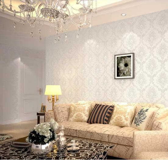 Modern damask feature wallpaper wall paper roll for living for Feature wallpaper bedroom ideas