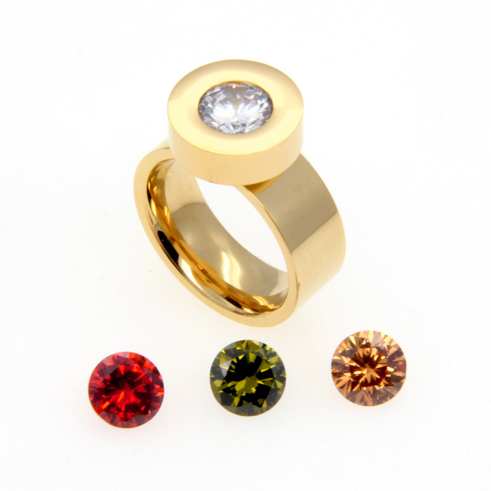 2015 Fashion Brand Jewelry 4 Color Zircon Crystal Stone Interchangeable Rings 18K Gold 316L Stainless Steel Rings For Women(China (Mainland))