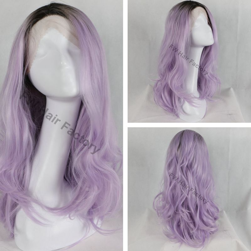 Free Shipping Natural Look High Quality Purple Tint Lavender Wig Glueless Synthetic Lace Front Wigs Heat Resistant Fiber(China (Mainland))