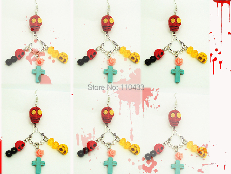Здесь можно купить  2014 new Day Of The Dead Earrings Sugar Skull Dangle Yellow Red turquoise pink rose, halloween  ER732  Ювелирные изделия и часы