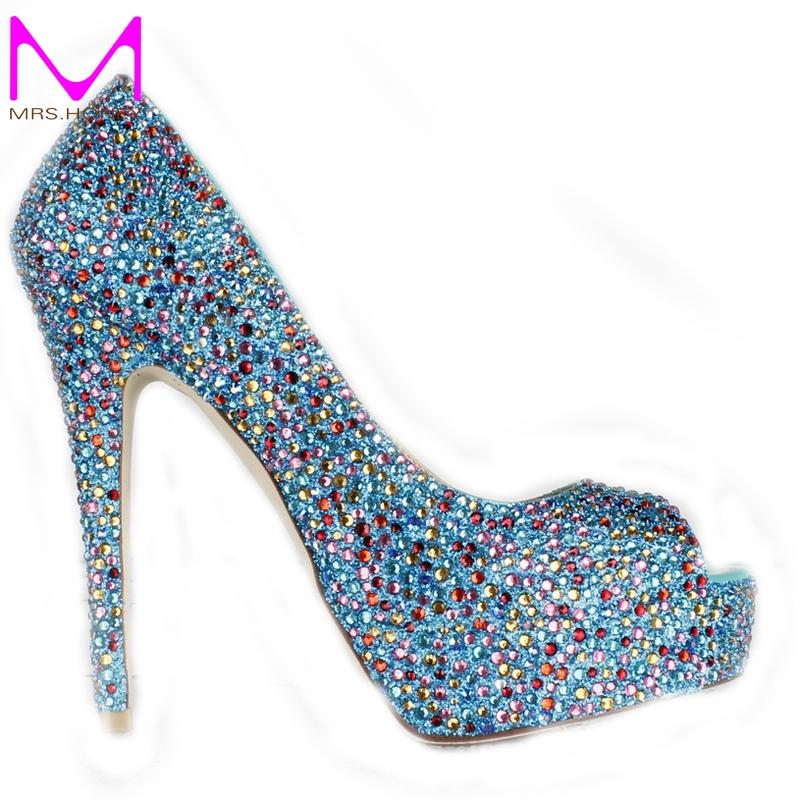 Buy stiletto heel blue rhinestone peep for Heels for wedding dress