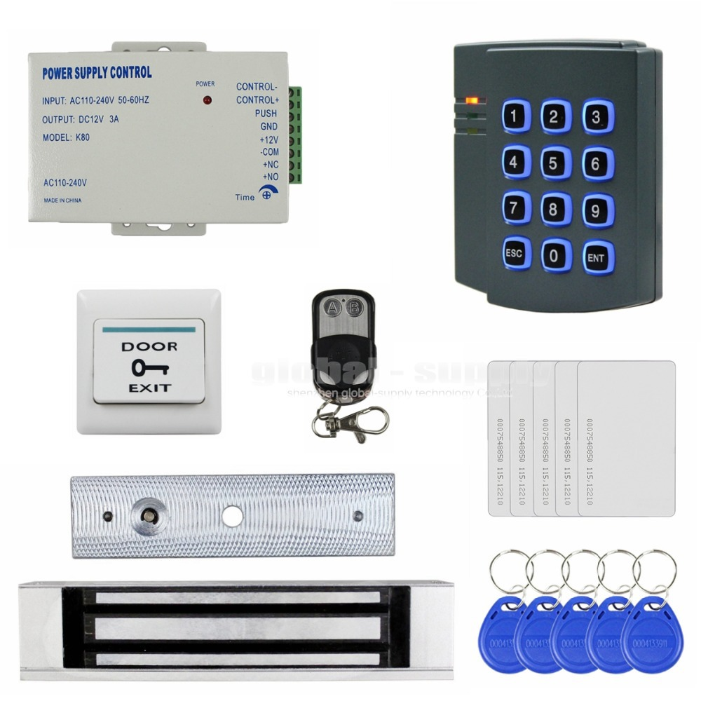 Remote Control RFID 125KHz ID Card Password Keypad Access Control Security System Kit + 180kg Magnetic Door Lock 2501(China (Mainland))
