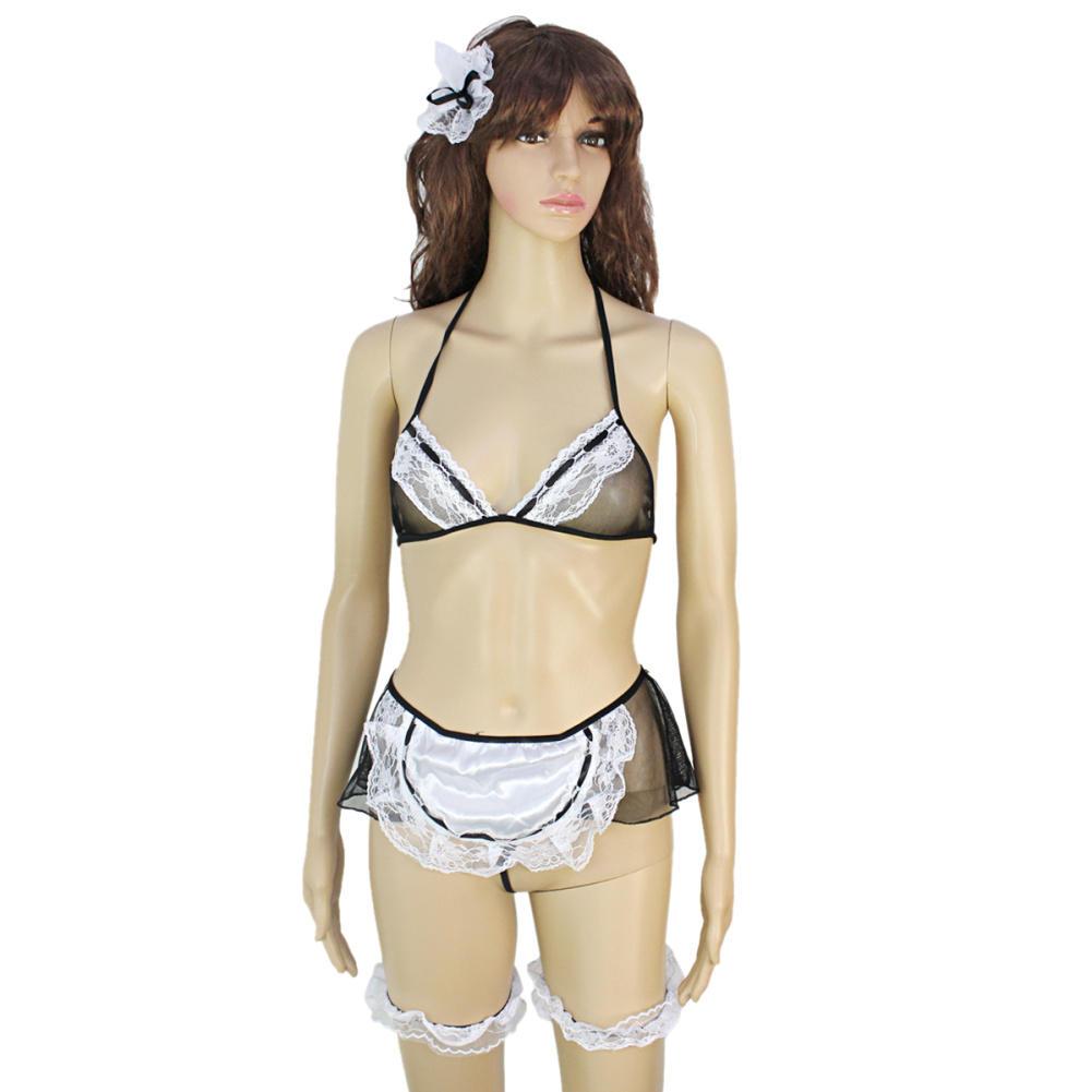 Erotic Lingerie 2016 Sexy Women Lady Lace Lingerie Sleepwear Underwear Maid Costume Set