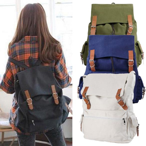 New Unisex Girl Boy Canvas Backpack Casual Shoulder Bag Magnet Button SchoolBag 4 Colors   <br><br>Aliexpress