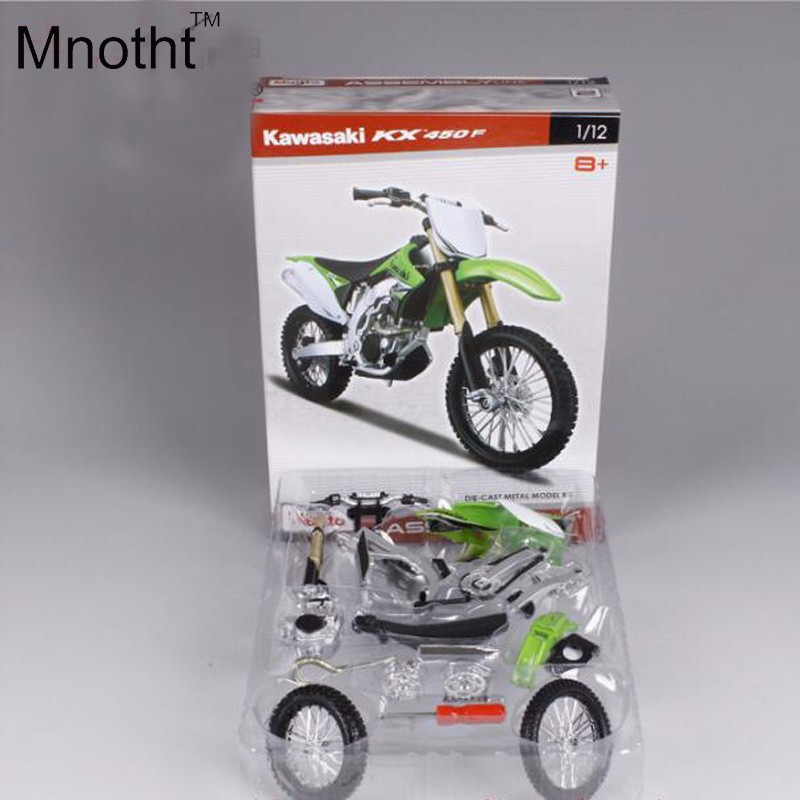 1:12 Kawasaki KX 450F Assembly Line DIY Diecast Motorcycle Model Green Mini Vehicle Toys Gift for Kids Birthday and Collection