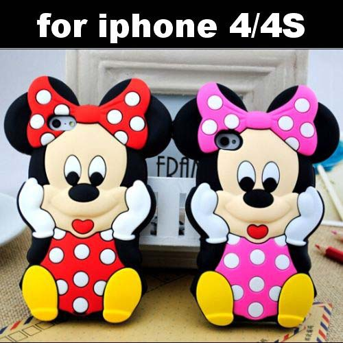 iPhone 4 4S 4g Lovely Cute Cartoon Mickey Mouse Minnie 3D Soft Rubber Silicone Cover Case Skin - IRS Trading Co.,Ltd store