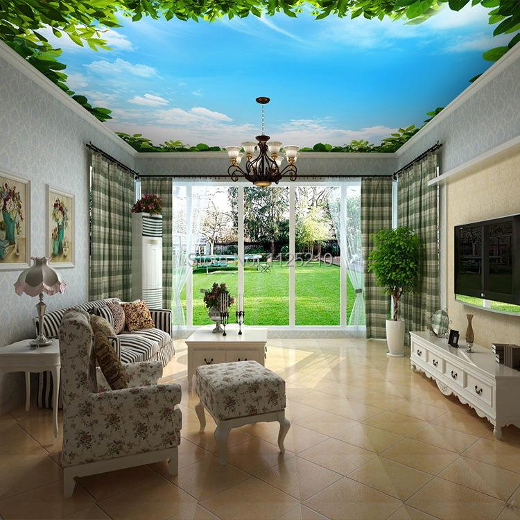 Free shipping3d lobby ceiling mural wallpaper bedroom for Mural room white house
