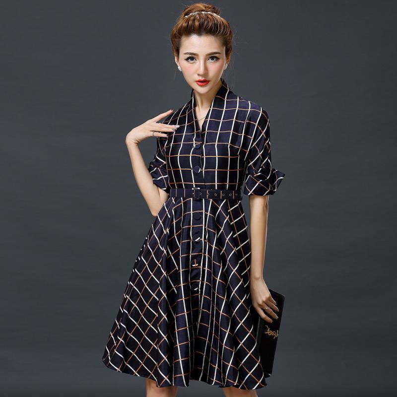new a line v neck casual plaid dress women long sleeve elegant party dresses knee length robe. Black Bedroom Furniture Sets. Home Design Ideas