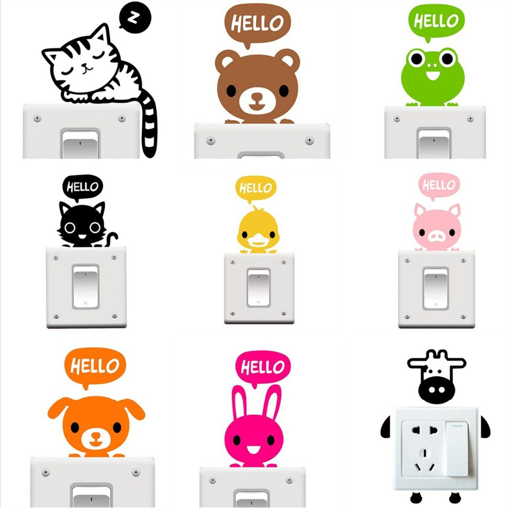TOP Selling Cat Bear Dog Cute Switch Vinyl Stickers muraux for Kids Room Wall Stickers Pegatinas de pared Adesivos de parede HOT(China (Mainland))
