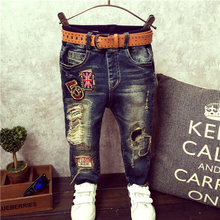 (2-9Y) Boys Jeans 2016 Hotest Spring & Autumn & Summer Style Moderate Jean Trousers For Boy Kids Ripped Jeans Denim Pants(China (Mainland))