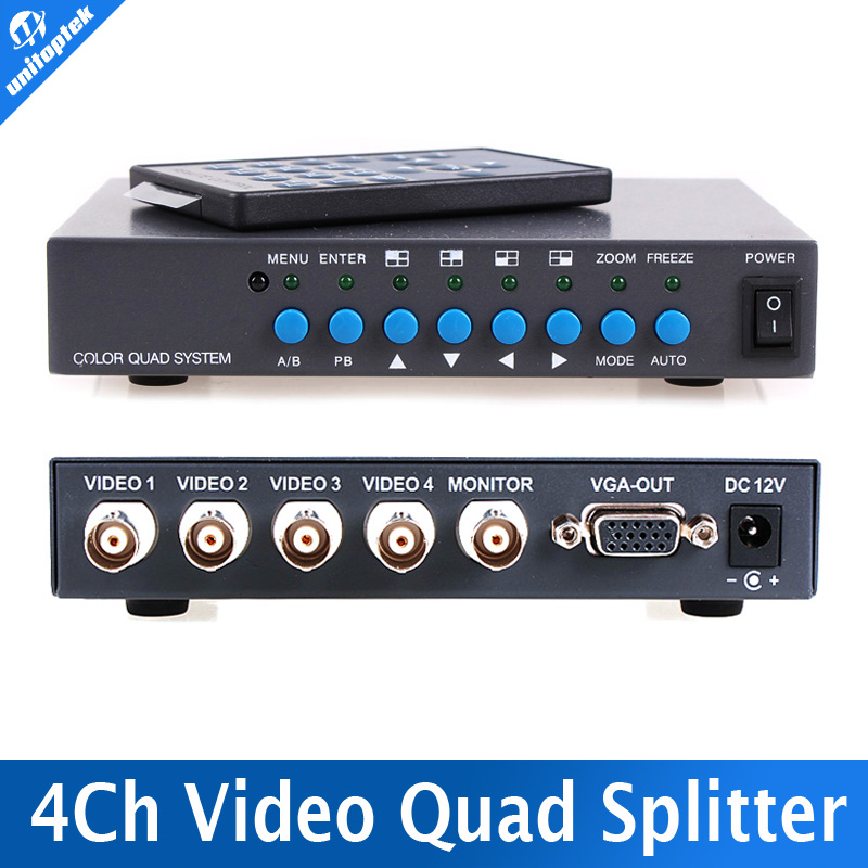 4CH Color Video Digital Color Quad Splitter Processor VGA-OUT For CCTV Security System With BNC Switcher Splitter(China (Mainland))