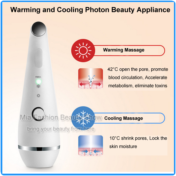 Mini USB Charge Hot Cold Vibration Massage Red Blue Photon Light Skin Therapy Whitening Refine Pores Face and Eye Beauty Machine