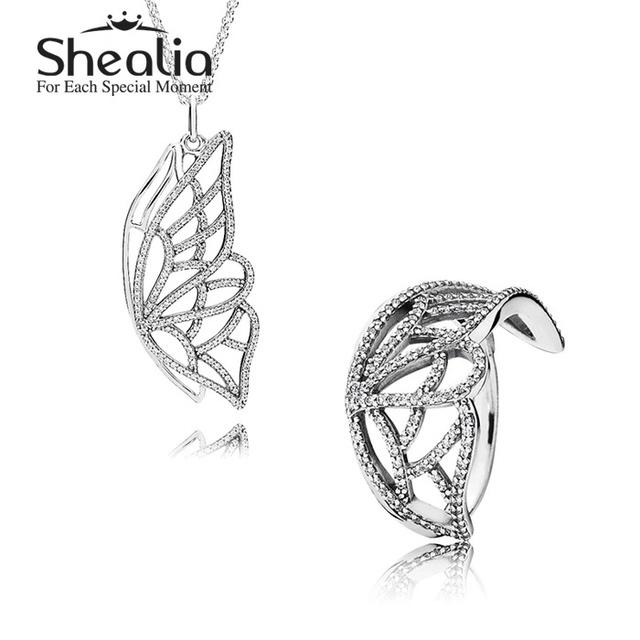 925 чистое серебро насекомое ювелирные комплект - проложить бабочка крыло ожерелье кулон / кольцо для женщины своими руками аксессуары SHEALIA