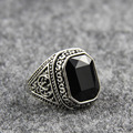 Men Ring Silver Square Big Stone Vintage Couple Finger Resin Ring Hommes Carved Jewelry Accessories Retro Punk Male Ring Black