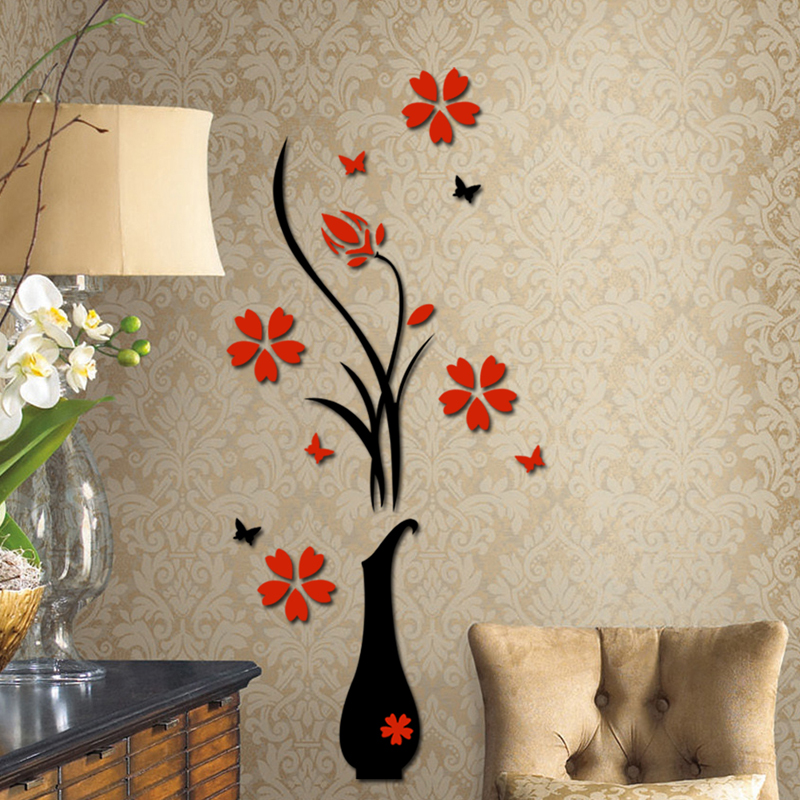 New 3D Plum Vase Wall Stickers home decor creative wall decals Free Shipping FULI