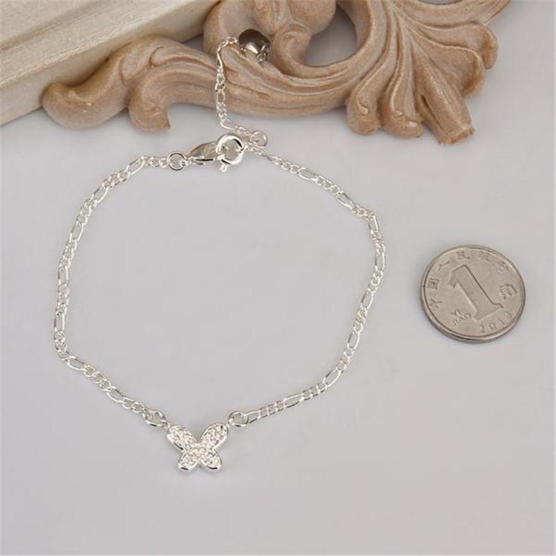 925 sterling silver butterfly anklets women rhinestone foot jewelry anklet chain leg bracelet Ankle Chain - Shen Zhen qing xing Co., LTD. store