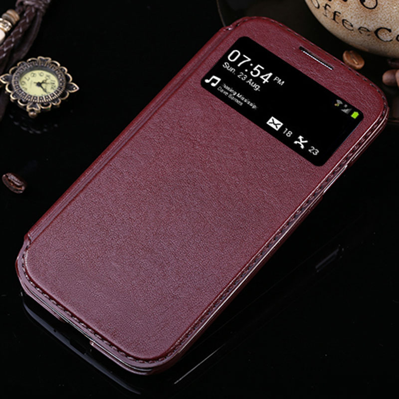 s 4 flip leather case for samsung galaxy s4 cover i9500 window luxury original pu support stand case for galaxy s4 cases men new(China (Mainland))