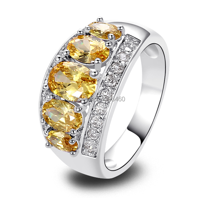 Wholesale Unique Delicate Oval Cut Citrine Silver Ring Size 8 New Fashion Jewelry 2016 Gift For Women(China (Mainland))
