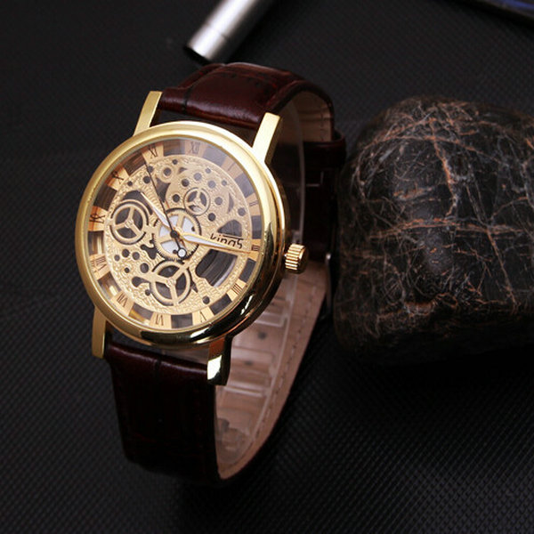 Big Promotion 2015 Relogio Montre Femme luxury pu leather watches men mechanical looking Quartz Watch Male Hour Hollow Design(China (Mainland))