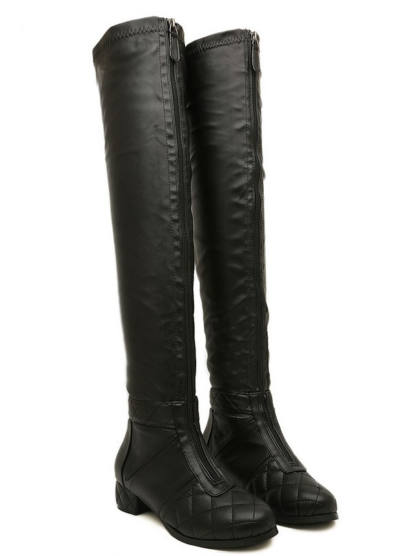 european designer sheepskin leather thigh high boots