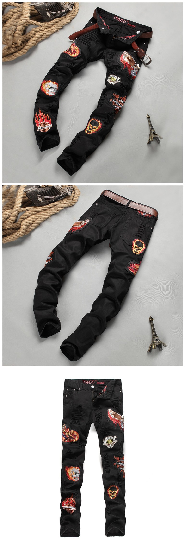 warm jeans 2017 Spring and Autumn New fashion badge embroidery Tights personality Slim black Micro-bomb Hole trousers C205