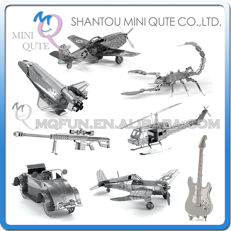 Piece Fun 3D Laser Cut DIY Assembly Models Plane Metal Puzzle Military insect musical instrument Adult kids educational toy(China (Mainland))