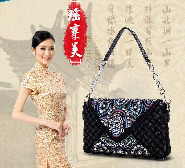2015 boho handmade PU knitting ethnic clutch bag rhinestone ethnic shoulder bag(China (Mainland))