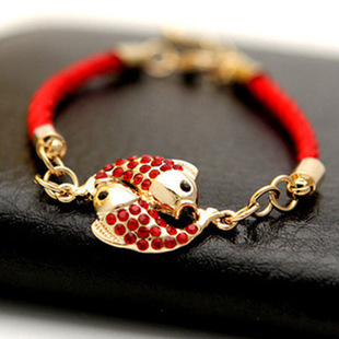 Hot sales fashion Chinese style lucky red string bracelet Double fish bracelet full of rhinestone bracelets high quality(China (Mainland))