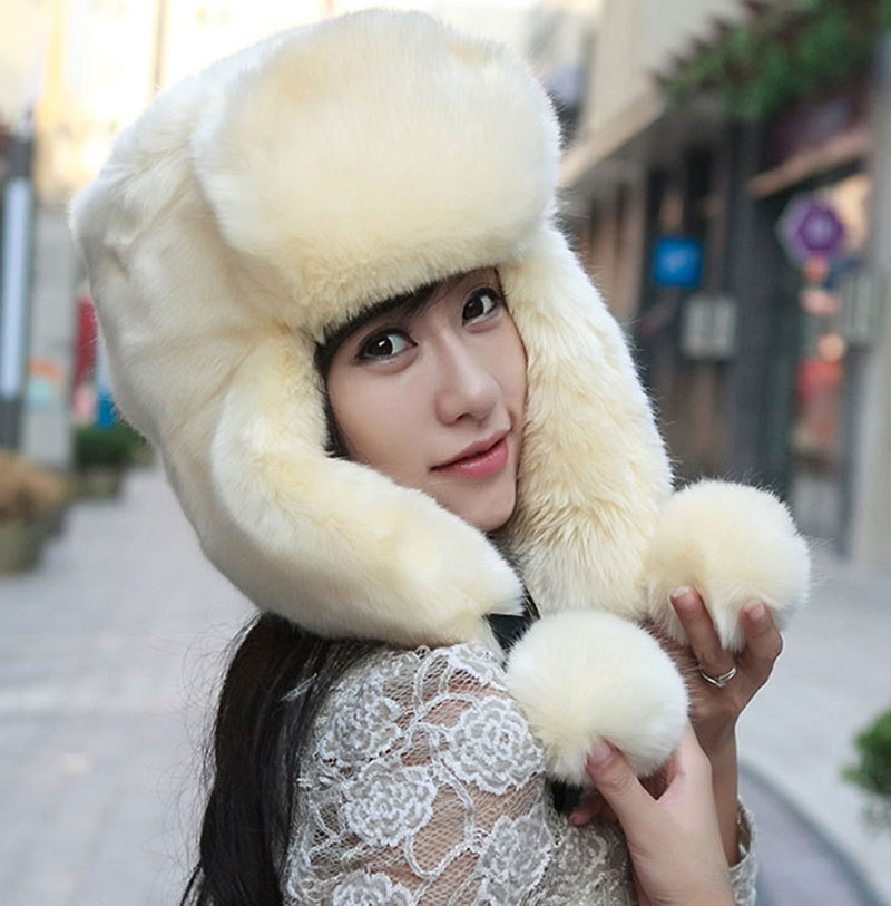 Fashion Woman Lady Winter Bomber Hats Russian Fur Hat Gorras Flaps Cap For Women Caps Ear Protection Lei Feng High Quality(China (Mainland))