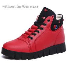 EOFK 2019 Frauen Stiefel Winter Stiefel Frau Warm Mit Pelz Stiefeletten Für Frauen Leder High Top Sneakers Plüsch Schuhe(China)