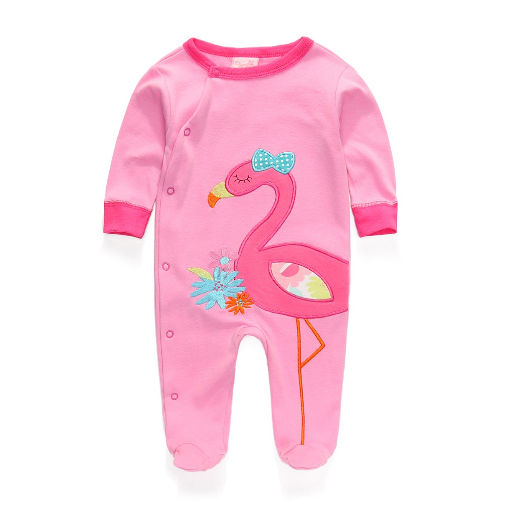New 2016 Brand Baby Girls Pajamas Romper Long Sleeve Foot Cover Newborn Boy Girl One-piece Jumpsuits Infant Clothes(China (Mainland))