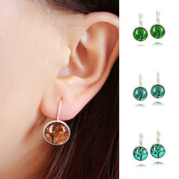 Romantic Life Tree Glass Cabochon silver plated Earrings Cute Earrings For Women Fashion Pendientes Jewelry Fine Jewelry