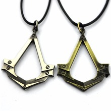 Buy New Assassins Creed Necklace Antique Silver Cosplay Pendant Game Accessories Leather Rope for $2.14 in AliExpress store