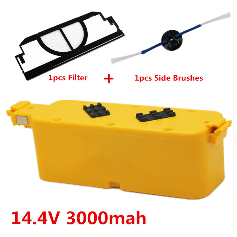 14.4V 3000mAh vacuum Cleaner Battery High quality Battery for irobot roomba 400 series 4100 +1pcs Side Brushes and 1pcs Filter(China (Mainland))