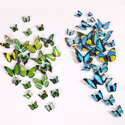 12pcs (4 big+ 8 small) PVC 3D Butterfly Wall Sticker Home Decoration Decals Home Decoration Adesivo De Parede Wall Decals Kids(China (Mainland))