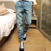 Men New Jean Joggers Mens Fashion Denim Joggers Drawstring Ankle Length Harem Pants Casual Men Jeans Sportswear Jogger(China (Mainland))