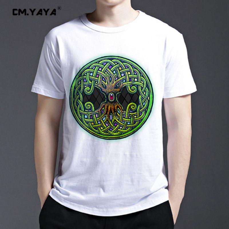 CM.YAYA Yggdrasil Viking World Tree of Life color Print cool men's fashion summer short sleeve t shirt 1606837(China (Mainland))