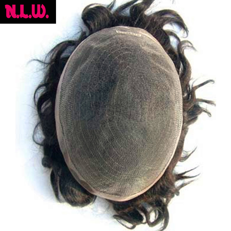 3--4 Weeks custom order SOFT THIN Super swiss lace 100% European virgin human hair toupee for men, colour #1b, straight texture