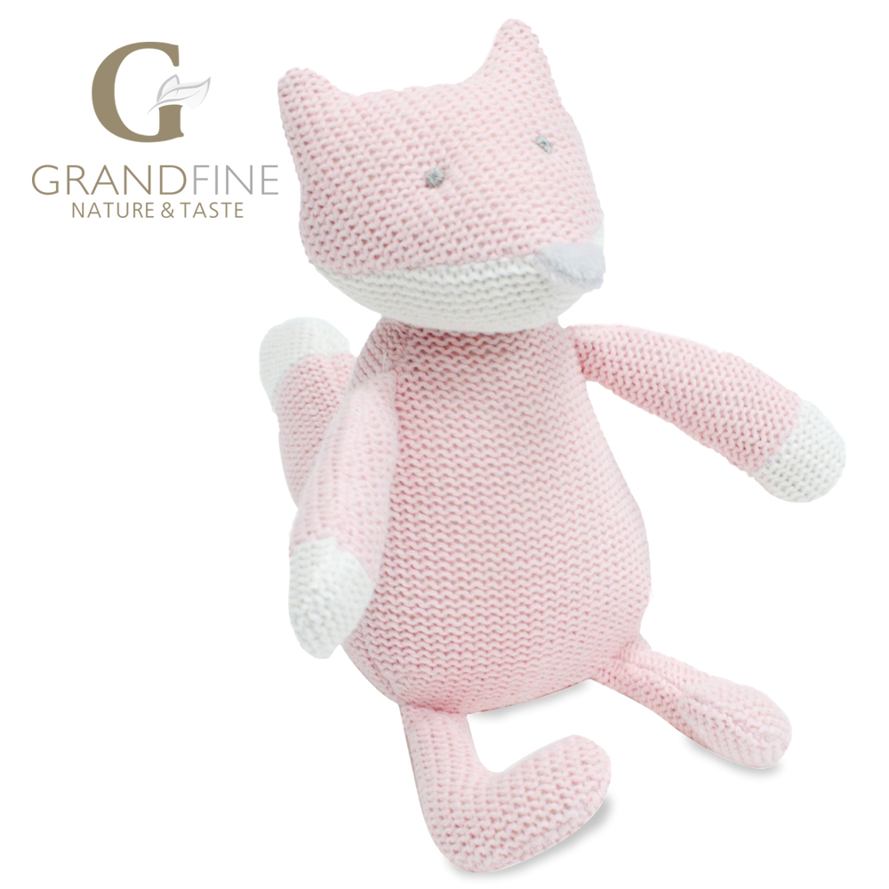 Bulk 22cm hand-made cute pink fox baby doll,cotton linen Eco material ,plush toys for birthday party gift(China (Mainland))