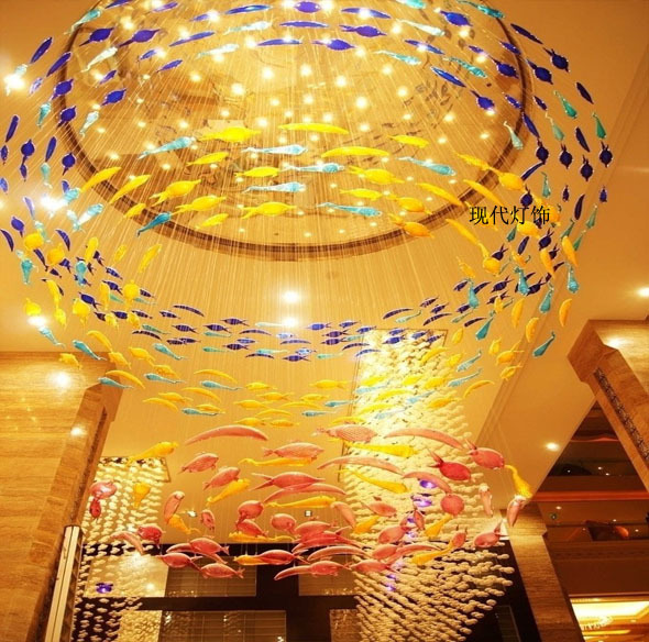 Creative european wholesale crystal glass fish marine fish for Luxury hotel project