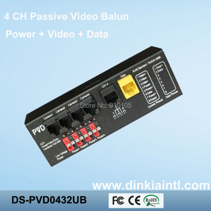 2012 New PVD twisted video balun passive 4 channel video transceiver for security video/audio/data BNC UTP DS-PVD0411C(Hong Kong)