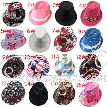 16 Designs Childern Fedoras Kids Top Hat Baby Dicers Headgear Gangster Hats Children Canvas Fedora Hat Jazz Cap 20pcs LM-0067