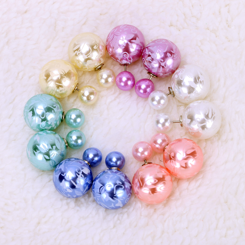 6 pairs/lot Wholesale Fashion Pearl Stud Earrings Jewelry Candy Colors Ball Double Side Earrings for Women Shinning Pusety(China (Mainland))