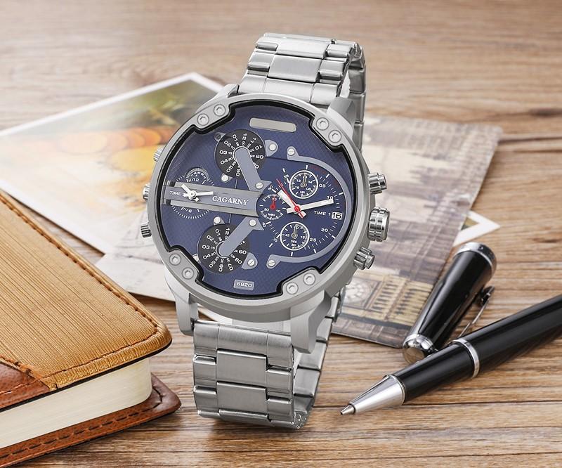 Мужчины Люксовый Бренд Из Нержавеющей Стали Ремешок Мода Повседневная Спортивные Часы Кварцевые Наручные Часы Мужские Большой Лицо Relojes Hombre Мужской Часы