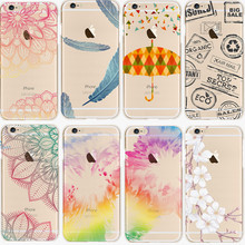 Butterfly Umbrellas Color Pattern Phone Case For Apple Iphone 6 6s Cover Transparent Soft Rubber Phone Cases capa