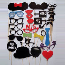 Buy Photo Booth Props 31 Pcs/Set Photobooth Wedding Birthday Party Photo Booth Props Glasses Mustache Lip Stick for $2.18 in AliExpress store
