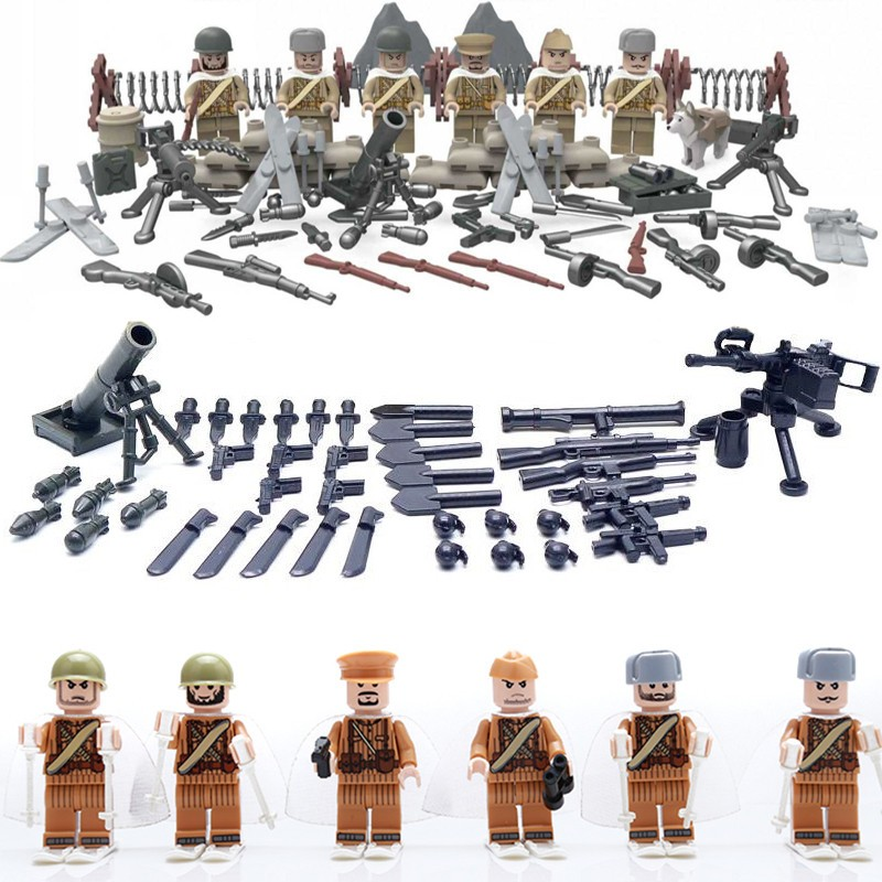 WW2 Soviet Russian National Army Battle Moscow Anti Fascist Minifigures Building Blocks Compatible Legoes Military D164 - COASTLINE TOY store